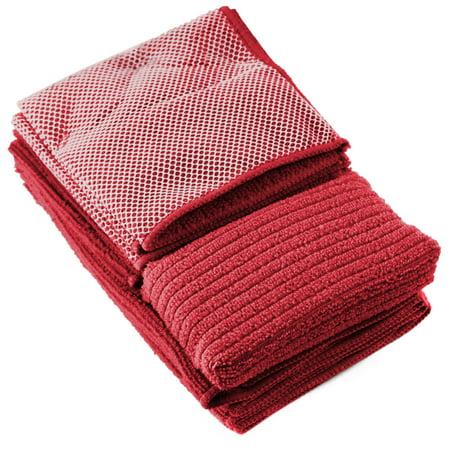 Iron Chef 6 Piece Burgundy Kitchen Towel Set Plus Bonus