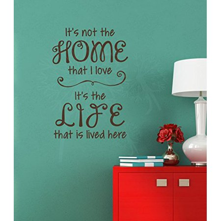 Love the Home Life Lived Here Best Family Wall Decal Quote Vinyl Lettering Stickers 16x23-Inch Chocolate