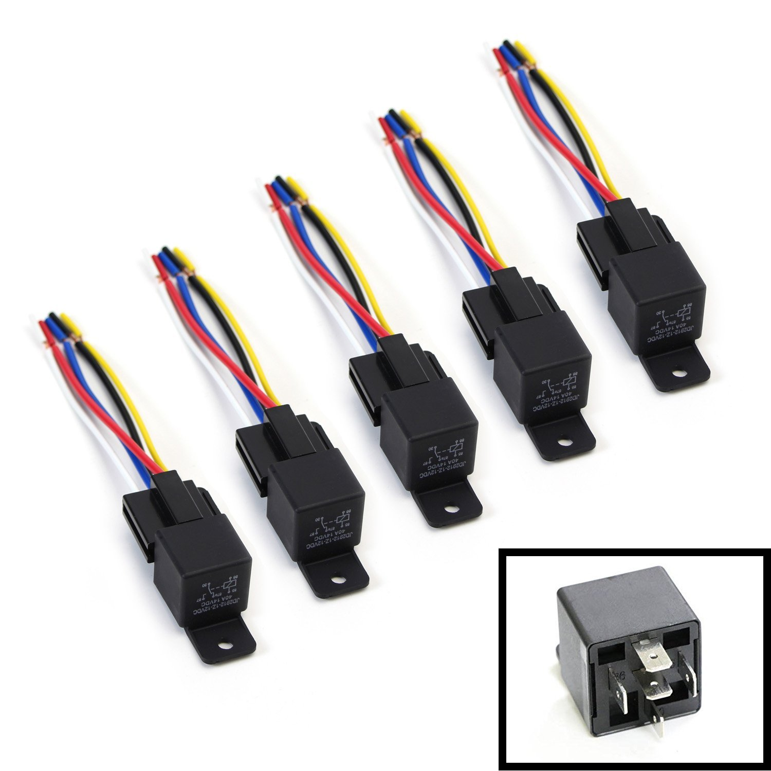 iJDMTOY 5 12V 30A40A 5Pin SPDT Relay Socket Wire For Car Fog