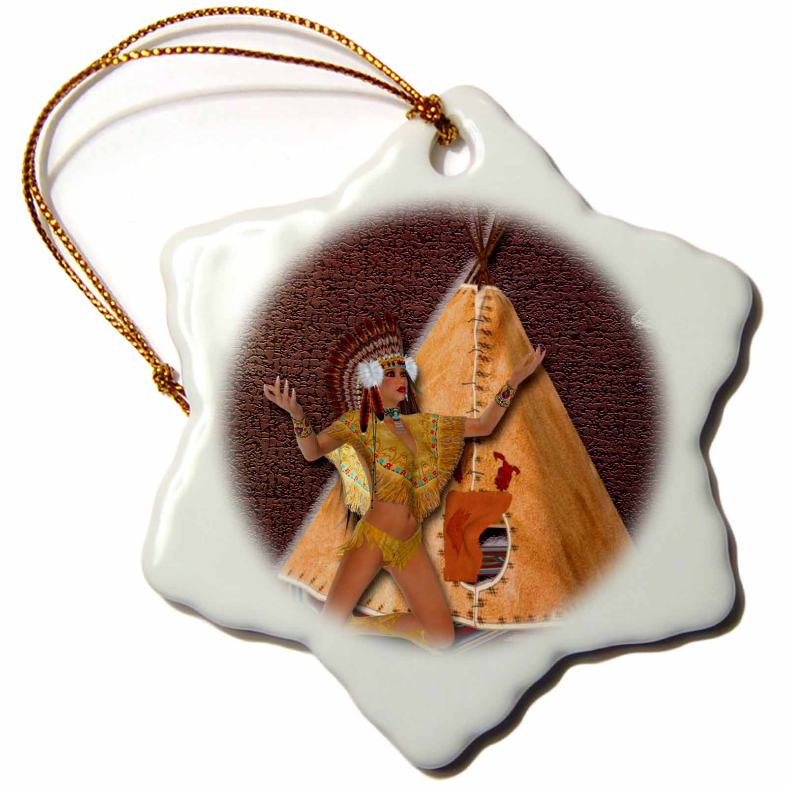 3dRose Designer One of A Kind Native American Art, Snowflake Ornament, Porcelain, 3-inch