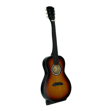 Black and Brown Wood Look Classic Guitar Statue On Stand