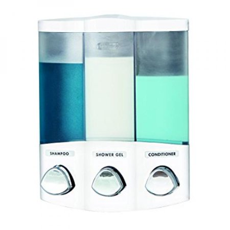 Euro Series TRIO Three Chamber Soap and Shower Dispenser  White. Euro Series TRIO Three Chamber Soap and Shower Dispenser  White