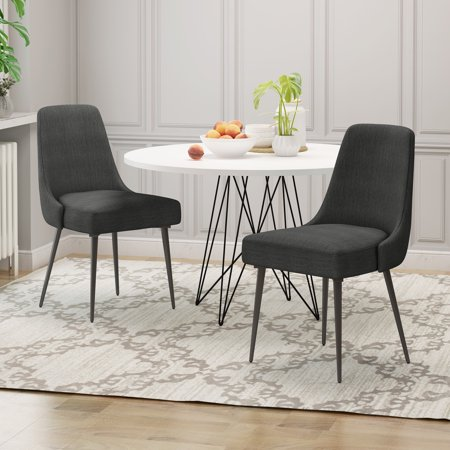 Ella Modern Fabric Dining Chairs (Set of 2), Charcoal
