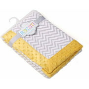 Bacati - Grey Ikat Zigzag Center with Solid Border 30 x 40 inches Plush Blanket, Yellow/Grey