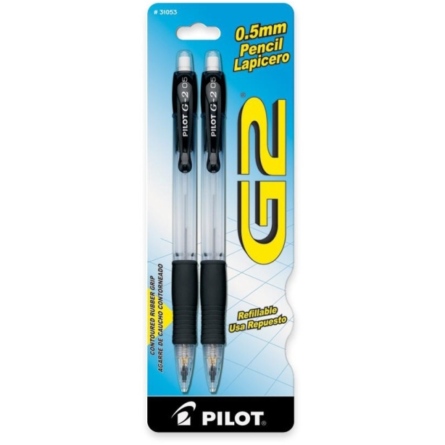 31053 Pilot G2 Mechanical Pencil - 0.5 mm Lead Size - Black, Clear Barrel - 2 / Pack