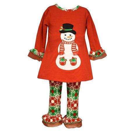 Baby Snowman (Bonnie Jean  Baby Girls Christmas Santa Snowman Red Legging Set 6-9)