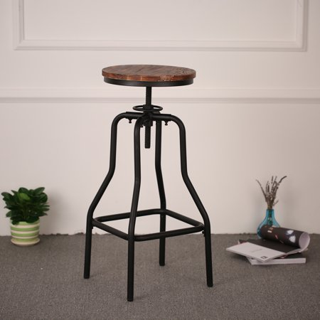 iKayaa Industrial Style Height Adjustable Swivel Bar Stool Natural Pinewood Top Kitchen Dining Breakfast Chair