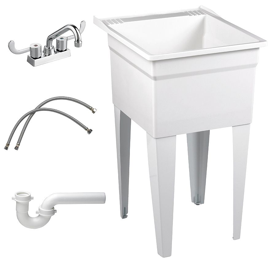 "Fiat Floor-Mount Laundry Tub Kit, 20-1 8"" x 17-3 4"" Square Bowl, White FL7TG100 by FIAT PRODUCTS"