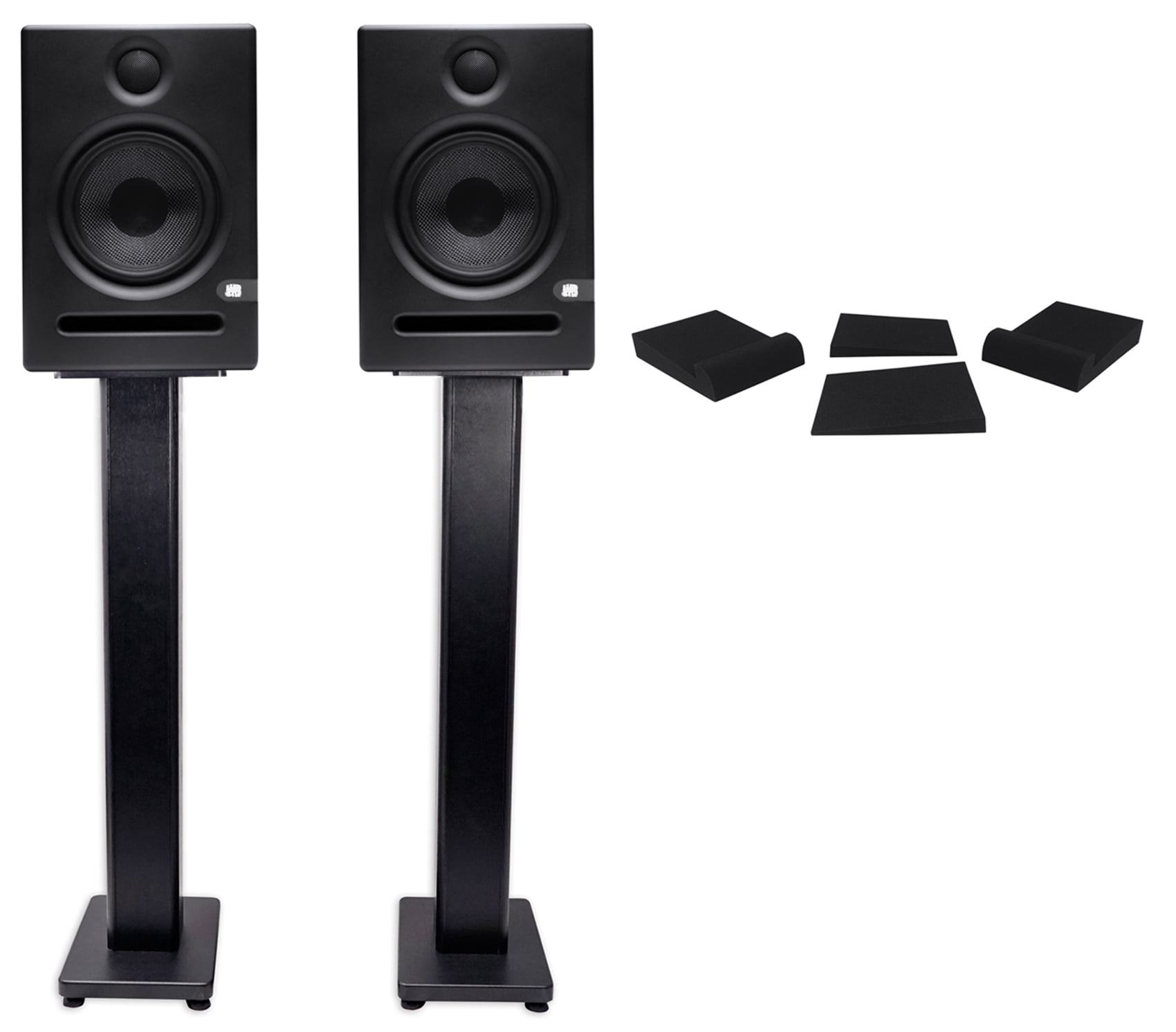 "2 Presonus Eris E5 5.25"" Powered Studio Monitors+Pair Stands+Foam Isolation Pads by PreSonus"