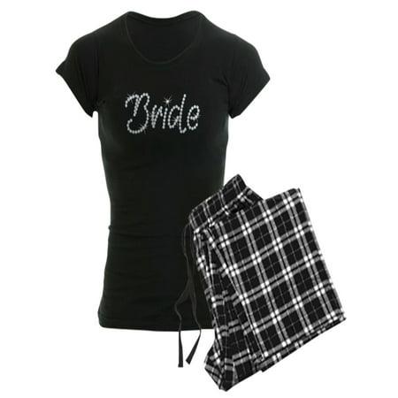 Blue Plaid Rhinestone - CafePress - Faux Rhinestone Bride - Women's Dark Pajamas