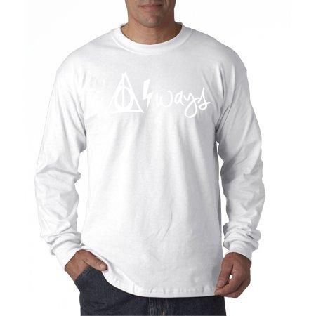 837 - Unisex Long-Sleeve T-Shirt Harry Potter Always Hallows Lightning Bolt Small White (Lightning Sleeve)