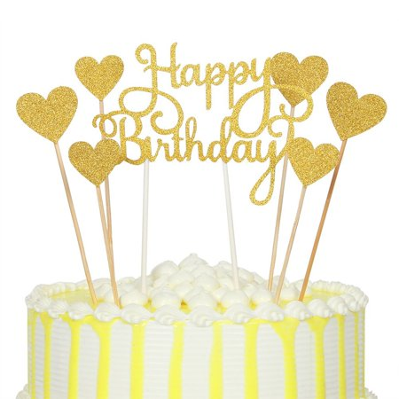Gold Glitter Happy Birthday Cake Topper And Love StarBirthday Party Event Decorationsset