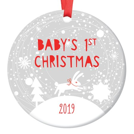 Bunny Baby's 1st Christmas Ornament 2019, Winter Rabbit Baby's First Christmas, Baby Boy 3