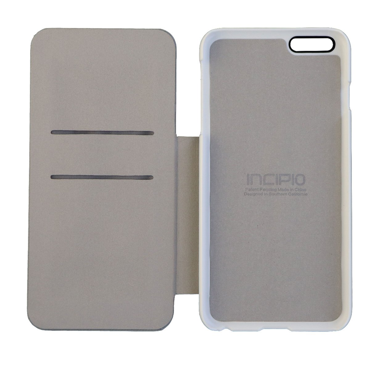 best website 72453 1a037 Incipio Highland Folio Wallet Case for iPhone 6 Plus 6s Plus White and Gray