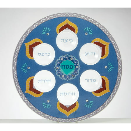 Passover Paradise by Royal Bath Glass Hand-decorated Blue Seder Plate with Gemstones (13