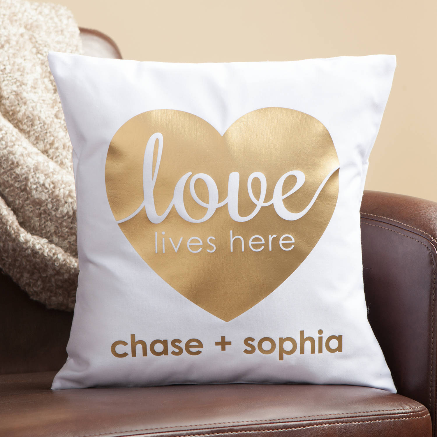 Personalized Heart Pillow - Love Lives Here