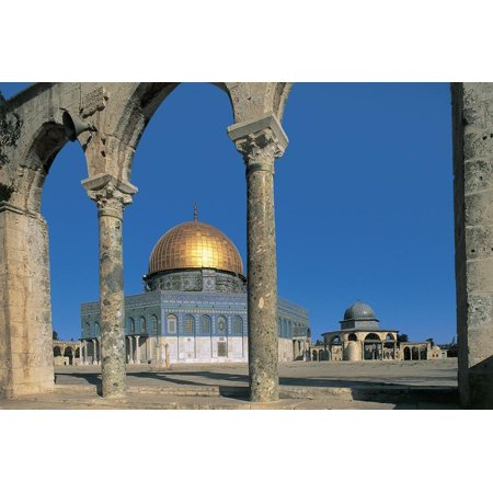 Columns in Front of a Mosque, Dome of the Rock, Jerusalem, Israel Print Wall Art