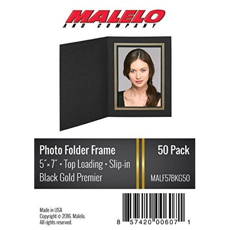 Black/Gold Cardboard Photo Folder Frame 5x7 - Pack of 50 (Photo Frame Packs)