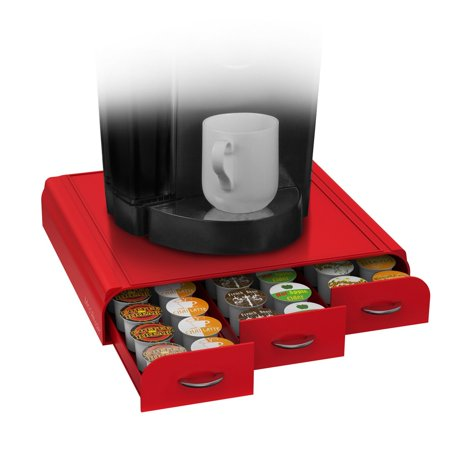 Anchor  Triple Drawer Single Serve Coffee Pod Holder  Red  Small Keen Cbtl Serve Black Metal Kcups Print Capacity Reusable 50 Pack Dixie Pod In Milk For    By Mind Reader