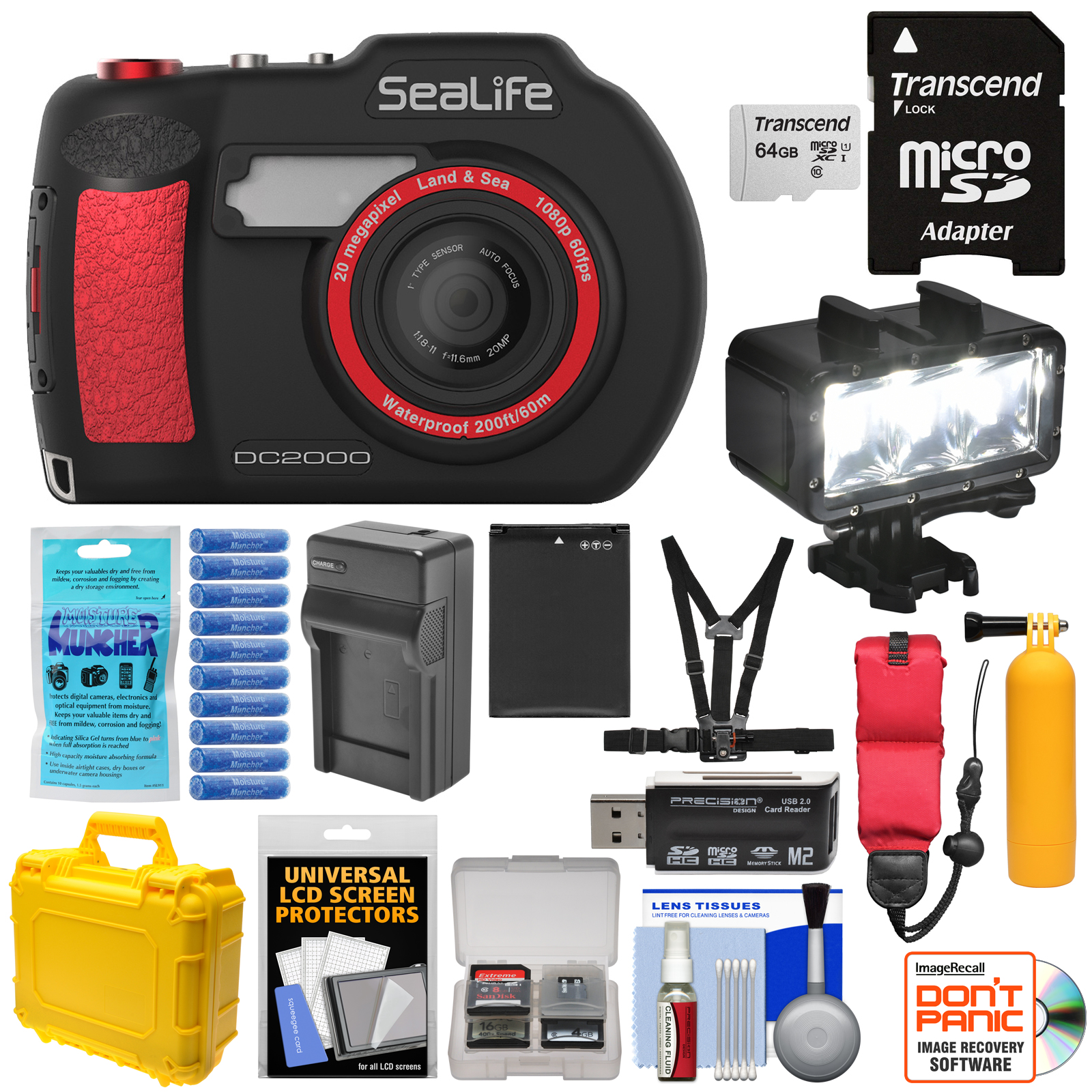 SeaLife DC2000 HD Underwater Digital Camera with 64GB Card + Battery + Charger + LED Light + Case + Kit