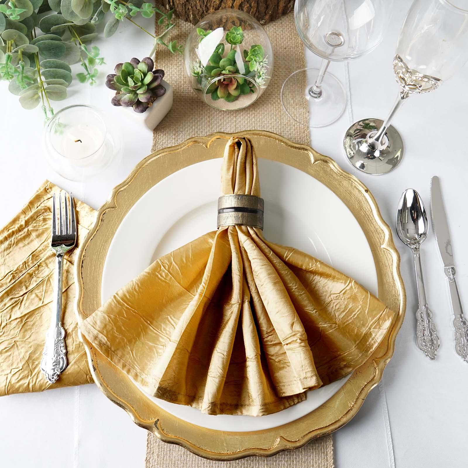 BalsaCircle 5 pcs 20 inch Taffeta Crinkle Napkins - Wedding Party Events Restaurant Dinner Kitchen Home Decorations