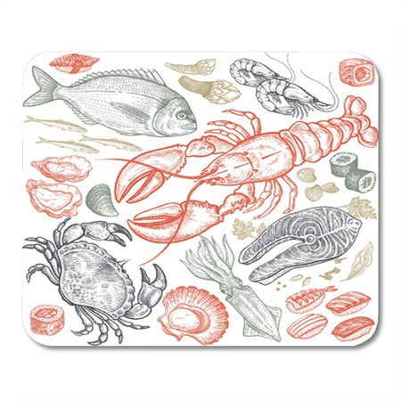 Shrimp Sushi - KDAGR Seafood Fish Shrimp Crab Lobster Octopus Mollusks Sushi Color Mousepad Mouse Pad Mouse Mat 9x10 inch