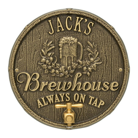 Personalized Whitehall Products Oak Barrel Beer Pub Plaque in Antique Brass
