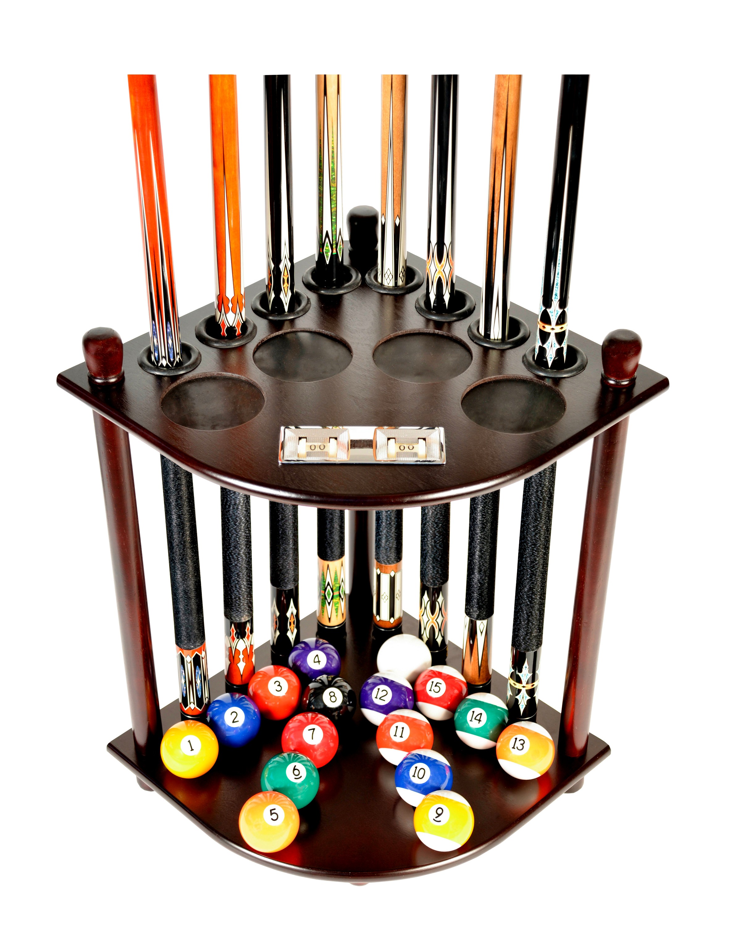 Pool Cue Rack Only 8 Pool Cue Billiard Stick & Ball Floor Rack With Score Counters Mahogany Finish by