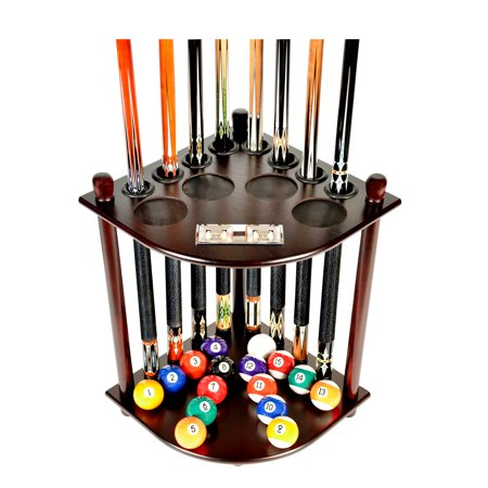 Pool Cue Rack Only 8 Pool Cue - Billiard Stick & Ball Floor Rack With Score Counters Mahogany - Gld Cue Rack