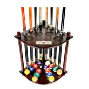 Pool Cue Rack Only 8 Pool Cue - Billiard Stick & Ball Floor Rack With Score Counters Mahogany Finish