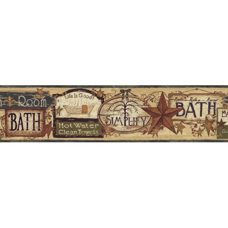 Signs Die Cut Wall Border - Brewster Home Fashions Borders by Chesapeake Latrine Good Life Signs 15' x 6'' 3D Embossed Border Wallpaper