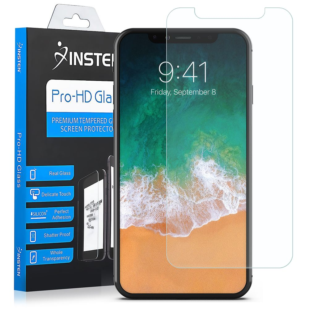 iPhone X Screen Protector, by Insten Clear Tempered Glass Full Coverage Edge to Edge Screen Protector Guard Film for Apple iPhone X - image 3 de 3
