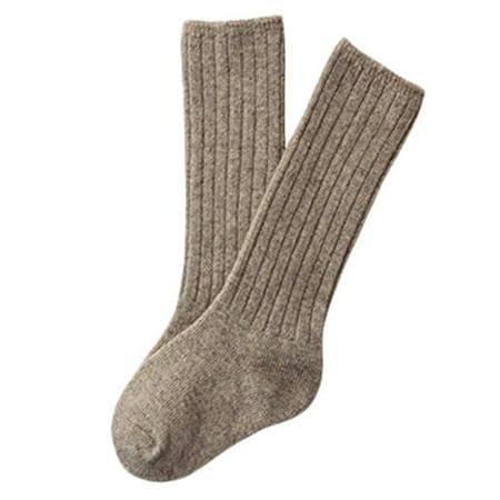 Lian LifeStyle Children 1 Pair Knee High Cashmere Wool Socks Size 4-6Y (Beige) - Knee High Purple Socks