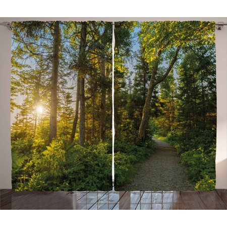 Landscape Curtains 2 Panels Set  National Park In Cape Breton Highlands Canada Forest Path Trees Tranquility Photo  Window Drapes For Living Room Bedroom  108W X 63L Inches  Blue Green  By Ambesonne