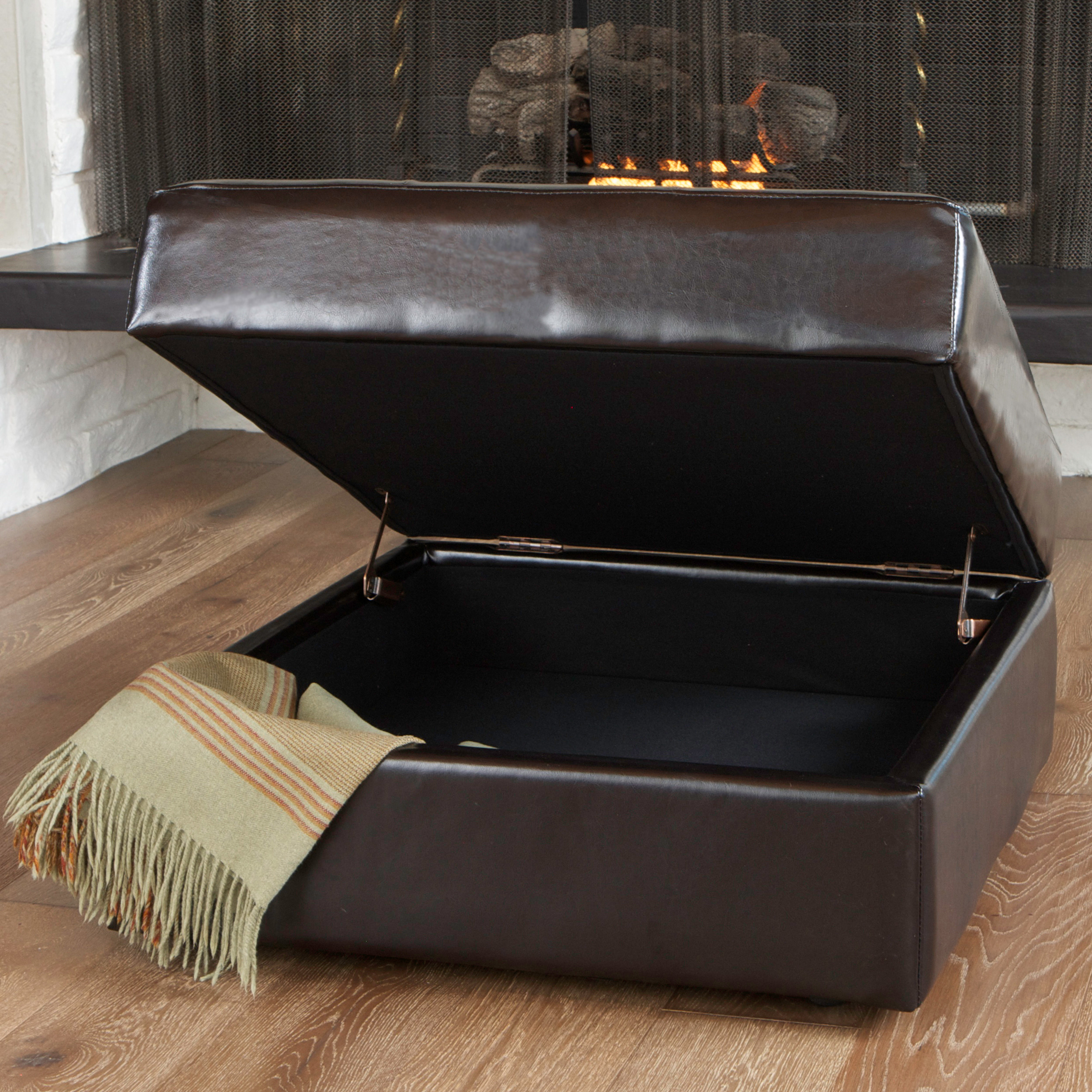Noble House Westlake Tufted Brown Bonded Leather Storage Ottoman