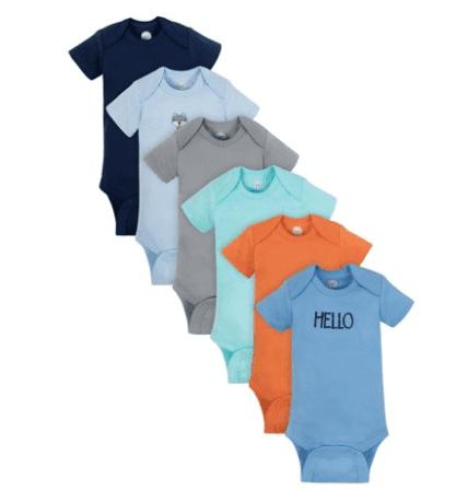 Wonder Nation Short Sleeve Bodysuits, 6-pack (Baby Boy)