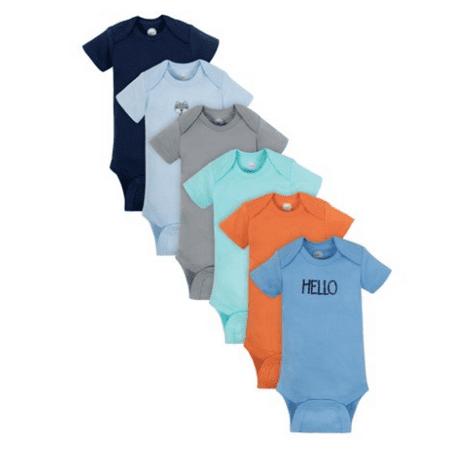 Wonder Nation Short Sleeve Bodysuits, 6pk (Baby Boys)