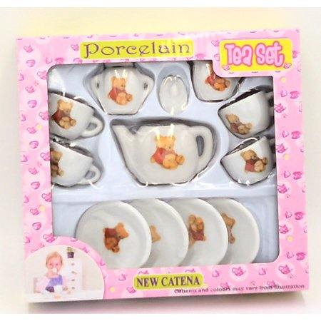 Real Porcelain Ceramic Toy Tea Set (color Of Graphic Will Vary) (Deluxe Porcelain Tea Set)