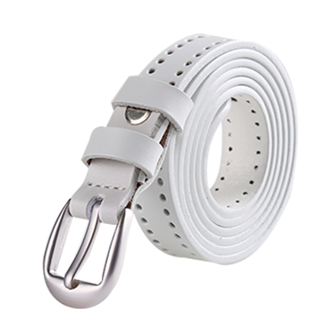 "Women Fashion Thin Single Pin Buckle Belt Width 3/4"" White 115CM - image 5 of 5"