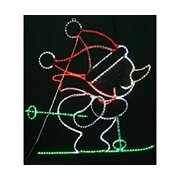 Neo-Neon Lighted Spooky Cat Halloween Decoration Green 18 in. W
