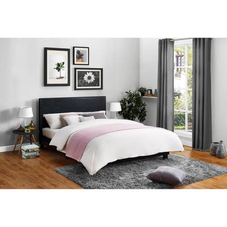 Mainstays Faux Leather Platform Bed, Multiple Sizes, Multiple Colors