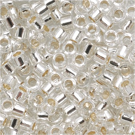 Miyuki Delica Seed Beads, 10/0 Size, 100 Gram Bulk Bag, Silver Lined Crystal - Bulk Seed Beads
