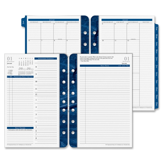 FranklinCovey Monticello Dated Two-Page-per-Day Planner Refill, 5 1/2 x 8 1/2, 2017