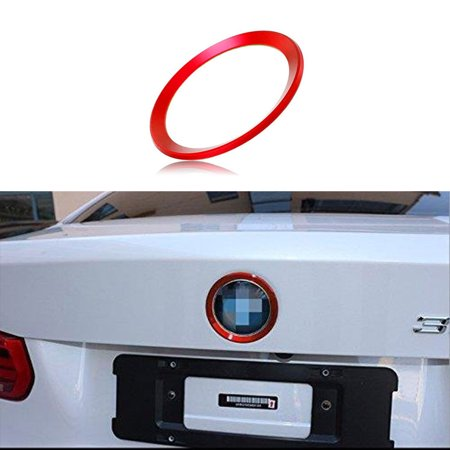 Xotic Tech 1 x Car Front Hood Rear Trunk Logo Emblem Surrounding Ring for BMW 2 3 4 M Series, Auto Exterior Decoration, Red 75mm/ 3