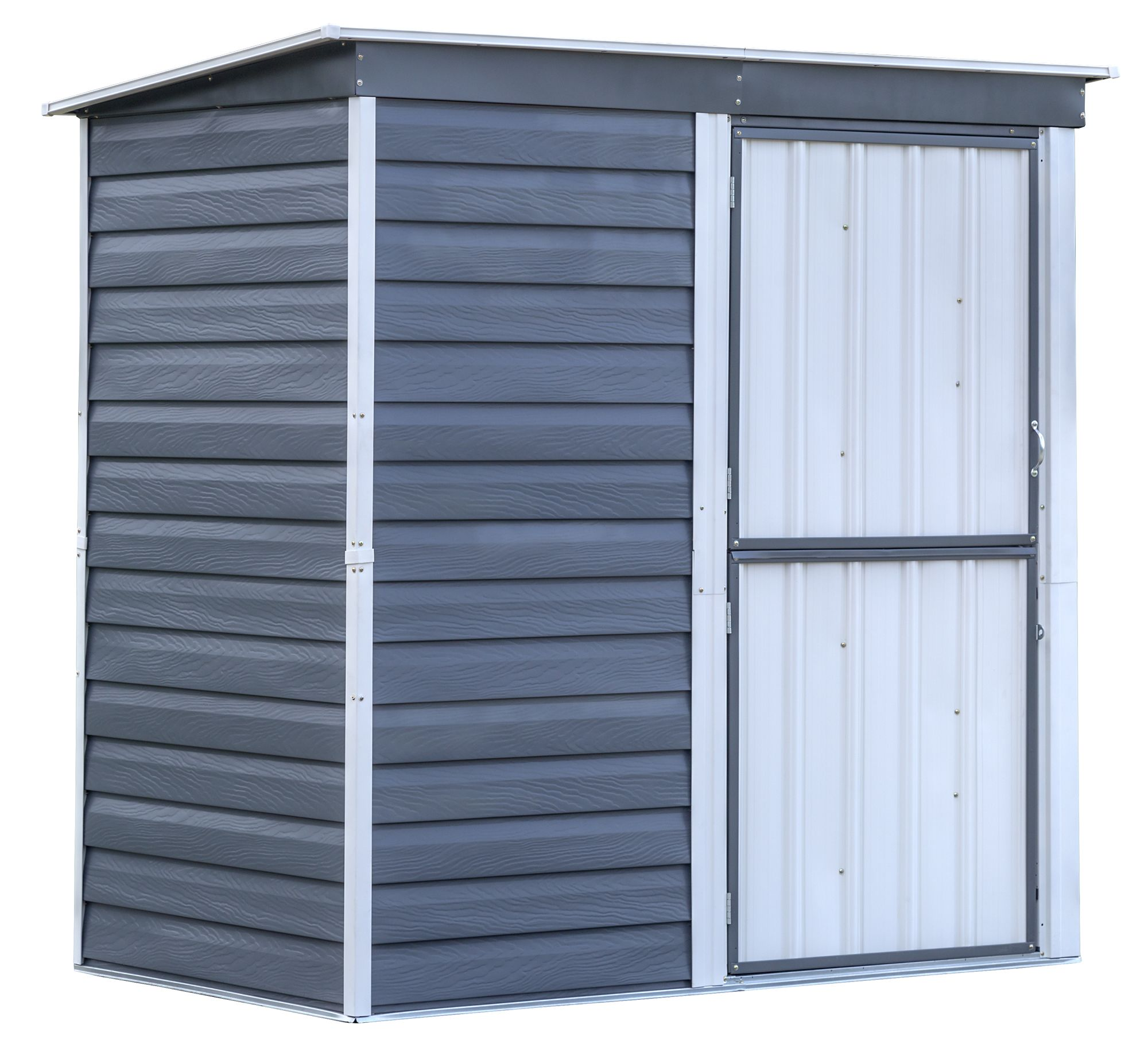Shed-in-a-Box Steel Storage Shed 6 x 4 ft. Galvanized Charcoal/Cream