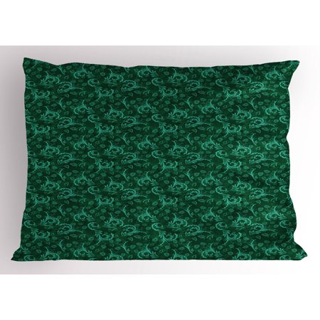 Floral Pillow Sham Abstract Blooming Nature with Petals and Leaves Green Toned Illustration, Decorative Standard King Size Printed Pillowcase, 36 X 20 Inches, Jade Green Pale Green, by Ambesonne - King Jaffe