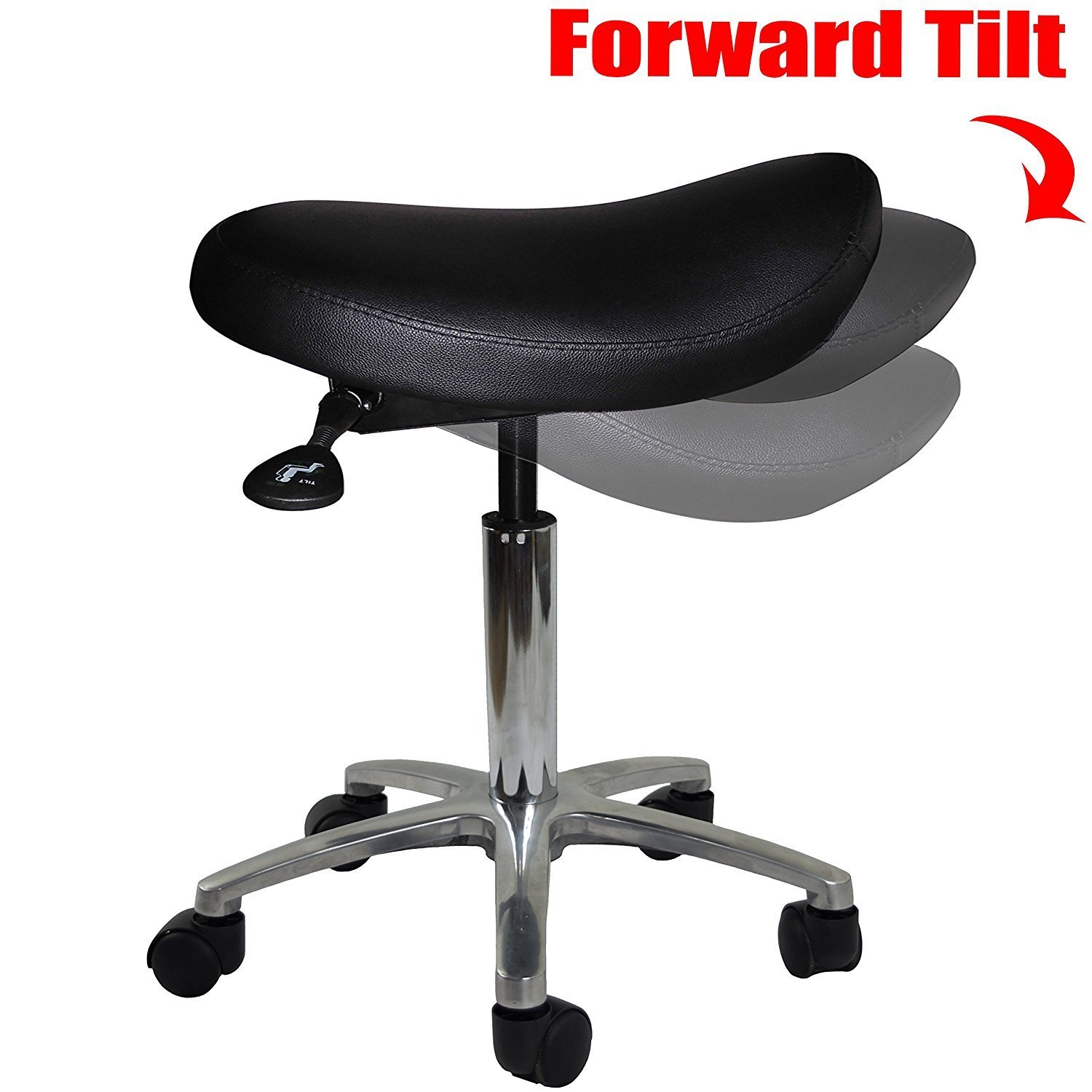 2xhome - Adjustable Saddle Stool Chair with Forward Tilting Seat for Clinic Hospital Pharmacy Medical Beauty Lab Exam Office Technician Physical Occupational Therapy Physician