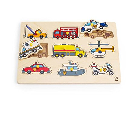 Emergency Vehicles Toddler Wooden Peg Puzzle..., By Hape Ship from US