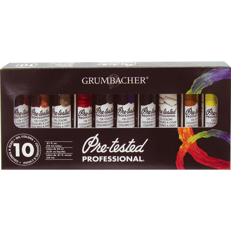Grumbacher Pre-Tested Oil Color Set, 10-Colors