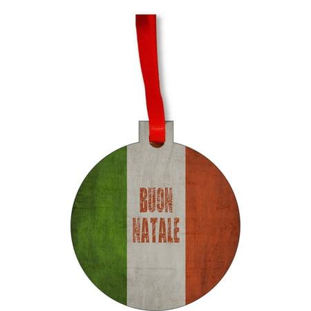Flag Italy - Italian Flag Buon Natale Round Shaped Flat Hardboard Christmas Ornament Tree Decoration - Unique Modern Novelty Tree Décor Favors (Italian Flag Decorations)